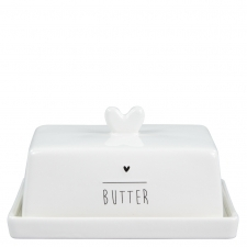Bastion Collections Butterdose White/Heart in Black